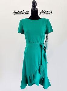 Calvin Klein Meadow Green Ruffle Hem Tulip Dress